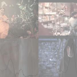 "Videos evoking ""fun,"" ""in love,"" ""melancholy,"" and ""horror"" shown in real time with the frequency content of the audience's EEG (low frequency to the left, high to the right)."